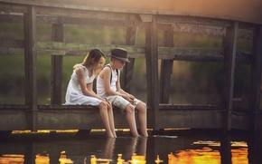 Picture bridge, river, boy, girl