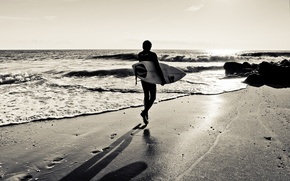 Picture Board, coast, surfer, beach, sand, surfer, surfer, wave, silhouette, shadow, the ocean, surfing, traces