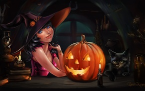 Picture girl, holiday, art, Halloween, pumpkin, Halloween, black cat, Witch