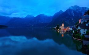 Picture mountains, the city, lake, Austria, Alps, Salzkammergut, Hallstatt, municipality