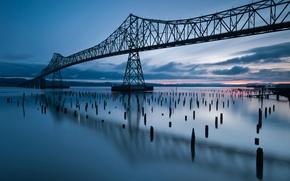 Picture clouds, sunset, bridge, reflection, river, the evening, Oregon, USA, USA, river, Oregon, bridge, sunset, clouds, …