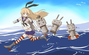 Picture sea, water, girl, round, Seagull, anime, art, kantai collection, shimakaze, . bow, takekumo