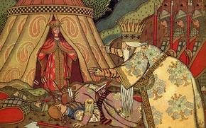 Picture sword, crown, the battle, Bilibin Ivan Yakovlevich (1876-1942), Tsar Dadon, before Shamahanskaya Queen