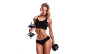 Picture girl, face, hair, body, figure, sports, fitness, dumbbells