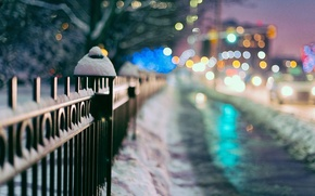 Wallpaper snow, widescreen, winter, blur, HD wallpapers, Wallpaper, the city, lights, full screen, the fence, background, ...