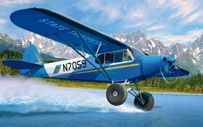 Picture art, airplane, painting, aviation, Piper PA-18 Super Cub