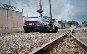 Wallpaper the sky, the way, stones, wall, black, posts, rails, bmw, cars, railroad, crushed stone, moving