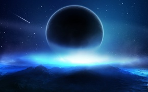 Picture space, clouds, stars, planet