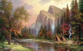 Picture mountains, river, smoke, waterfall, the fire, painting, Thomas Kinkade, painting, Thomas Kinkade, Yurt, the hut, …