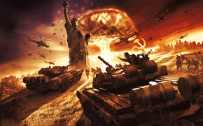 Wallpaper USSR, War, World in Conflict Soviet Assault, The Statue Of Liberty