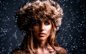 Picture girl, snow, portrait, Merry X-Mas
