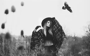 Picture girl, bird, hat, Voronin