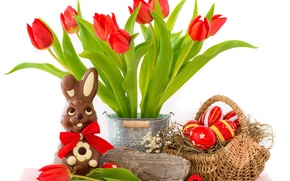 Picture eggs, red, flowers, tulips, tulips, Easter, eggs, bunny, easter