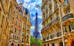 Picture the sky, clouds, street, France, Paris, tower, home