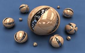 Wallpaper abstract three-dimensional balls, cinema