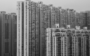 Picture China, window, black and white, buildings, architecture, skyscrapers, Asia, b/w
