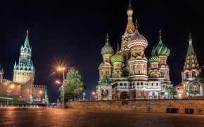 Picture night, Moscow, The Kremlin, St. Basil's Cathedral, Russia, Red square
