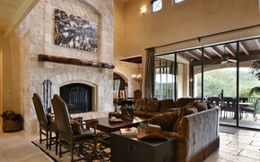 Picture design, style, interior, fireplace, living space, ranch