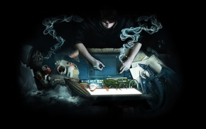 Picture computer, paper, fantasy, dragon, smoke, coffee, beer, antenna, mouse, cigarette, the airship, mug, leaves, Bank, …
