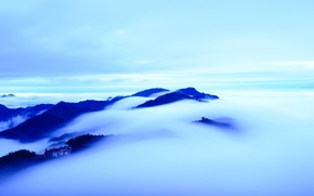 Picture clouds, hills, tops, view, height, home