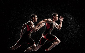 Picture squirt, running, form, guys, men, athletes