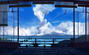 Picture sea, clouds, the ocean, lighthouse, veranda