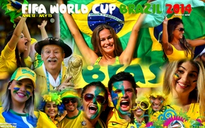 Picture collage, football, fifa world cup, fans, brazil, world Cup, 2014