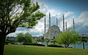 Picture Park, river, architecture, river, Turkey, park, Turkey, architecture, Mosque, Adana, Sabanci, Adana, Include Merkez Mosque