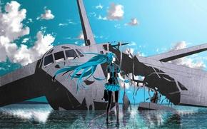 Wallpaper hatsune miku, headphones, Vocaloid, the plane, water, the sky, vocaloid, clouds