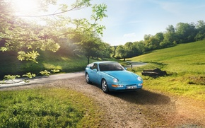 Wallpaper road, the sky, trees, coupe, Porsche, Porsche, Coupe, the front, 968, 1991