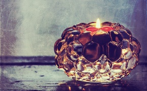Picture photo, fire, glass, candle, treatment, candle, candle holder