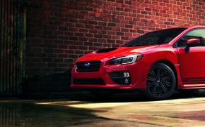 Picture Red, Subaru, Wall, Sedan, Wrx, 2015, Widescreen