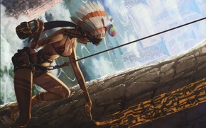Picture graffiti, feathers, rope, columns, bikini, bird, brush, draws, aboriginal, hide, headdress Indian warrior, by Tatsuwo