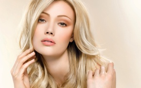 Picture girl, portrait, makeup, blonde, long hair, very beautiful