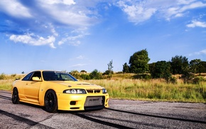 Picture Nissan, Skyline, Yellow, R33, Gt-R
