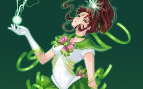 Picture girl, green, lightning, form, sailor jupiter, Bishoujo senshi sailor moon, Kino Makoto