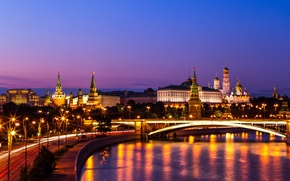 Picture bridge, The Moscow river, Big Krasnokholmsky bridge, The Kremlin, night city, Russia, Moscow, promenade, river
