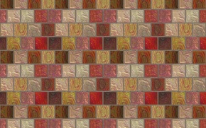 Picture mosaic, squares, wall, tile, texture
