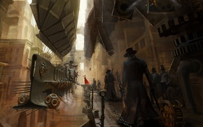 Picture figure, steampunk, airship