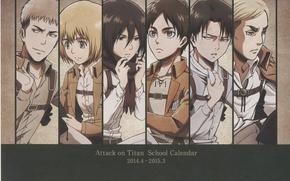 Picture Shingeki no Kyojin, Eren Jaeger, Mikasa Ackerman, Annie Leonhardt, Armin Arlert