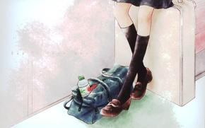 Picture feet, bottle, bag, knee, art, tachibana mei, Kane hazuki, say I love you