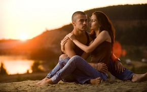 Picture women, romance, tenderness, pair, men