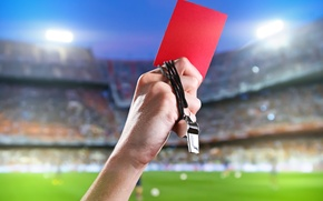 Picture red, football, whistle