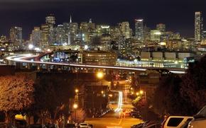 Picture road, night, bridge, street, home, CA, USA, USA, San Francisco, California, skyscrapers, San Francisco, machine.
