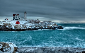 Picture winter, sea, the sky, clouds, stones, lighthouse, buildings, rocky shore