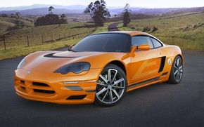 Wallpaper Dodge, road, sports car, orange