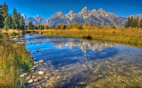 Picture autumn, forest, the sky, mountains, lake, reflection, stones