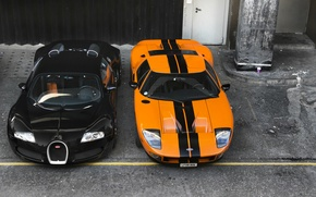 Picture orange, background, black, Ford, Bugatti, Bugatti, Ford, Veyron, Veyron, the front, supercars, supercars