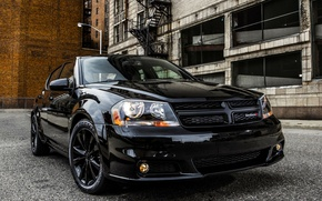 "Picture Black, Dodge, Car, 2012, Car, Black, Wallpapers, Wallpaper, The front, ""Blacktop"", ., Dodge Avenger"