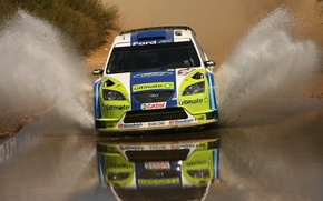 Picture water, squirt, rally, wrc, ford focus